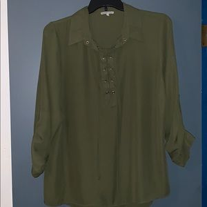 Like new army green polyester top